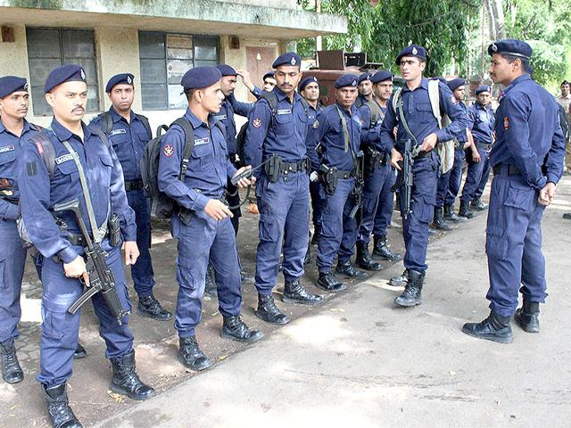Tight police security outside the Central Jail where 1993 Mumbai blast convict Yakub Memon is lodged. (PTI Photo)