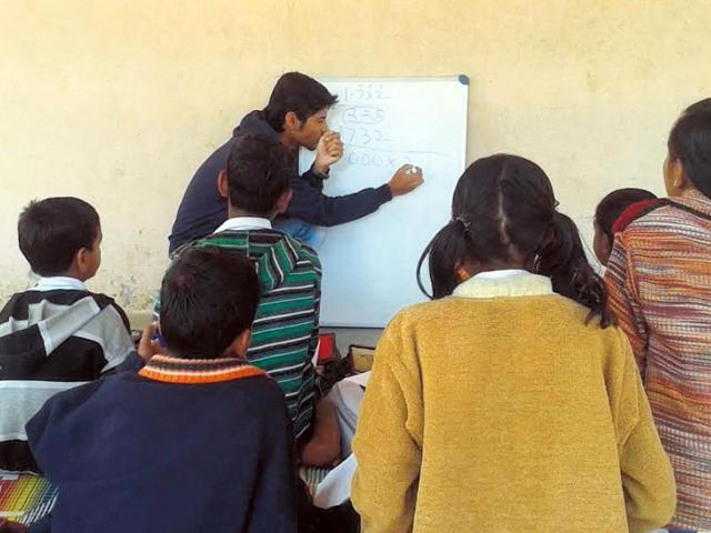 Lack of knowledge among students at government schools pushed the IIT-Indore students to start the initiative. (HT Photo)