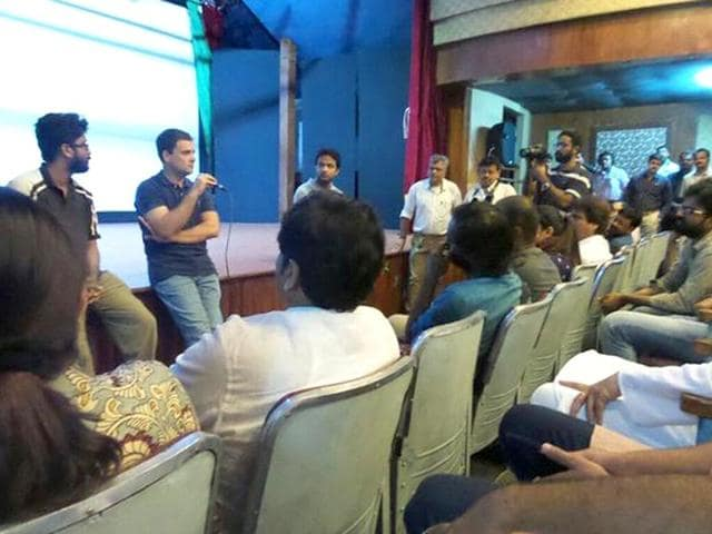 Rahul Gandhi interacts with students at the Film and Television Institute of India in Pune. (Photo: @OfficeofRG on Twitter)