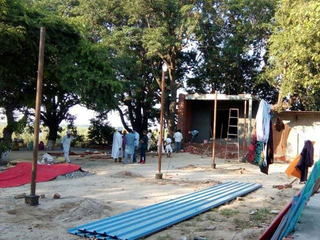 The gurdwara encroachment in the Harike sanctuary. Photo: Punjab Forests and Wildlife Department