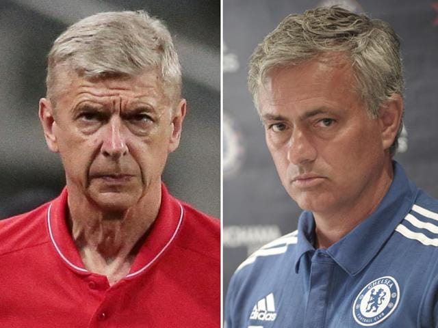 A composite photograph of Arsenal manager Arsene Wenger, left, and Chelsea manager Jose Mourinho. (Agencies)