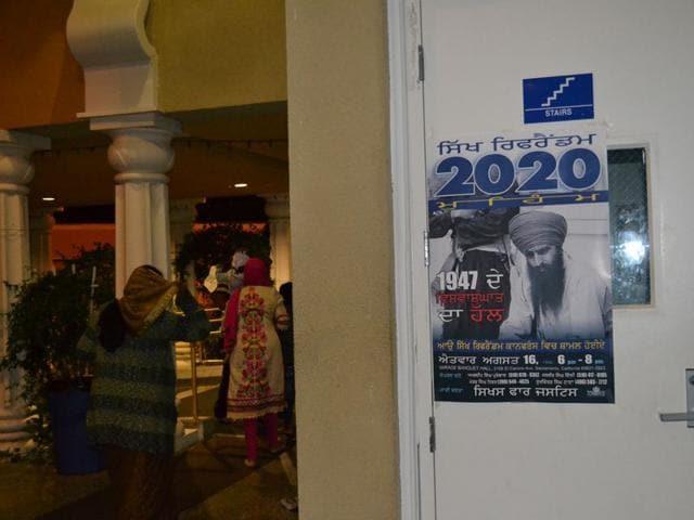 A poster about referendum 2020 in a gurdwara in San Jose, California. HT Photo