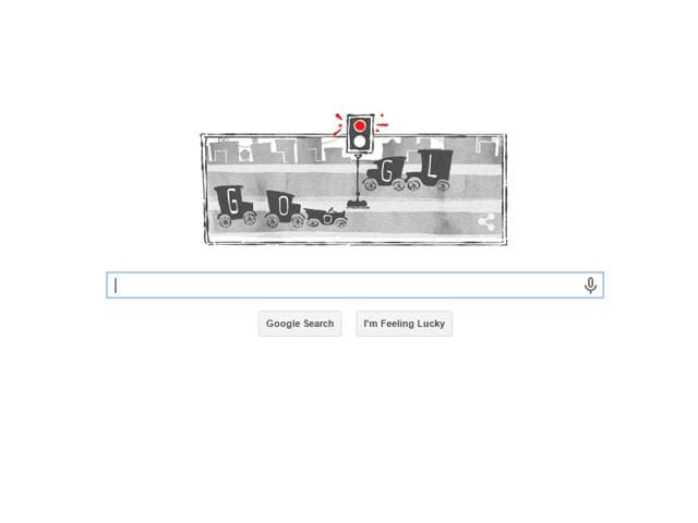 Google celebrates 101 years of electric traffic light with Animated doodle.