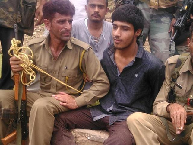 The sole militant caught alive after a terrorist attack on a BSF convoy that was travelling on the Jammu-Srinagar national highway in Udhampur district about 85km from Jammu, on Wednesday, August 05, 2015 (HT Photo)