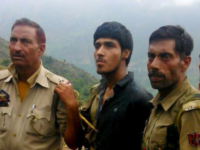 The sole militant caught alive after a terrorist attack on a BSF convoy that was travelling on the Jammu-Srinagar national highway in Udhampur district about 85km from Jammu, on Wednesday, August 05, 2015 (Agency Photo)