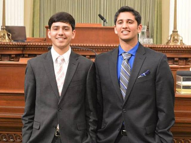 Two Punjab-origin brothers, Arijeet Singh, 14, and Rajvarun Singh Grewal, 16, have come up with an idea of replacing natural grass with artificial grass to deal with the drought situation in California. Photo Courtesy Facebook