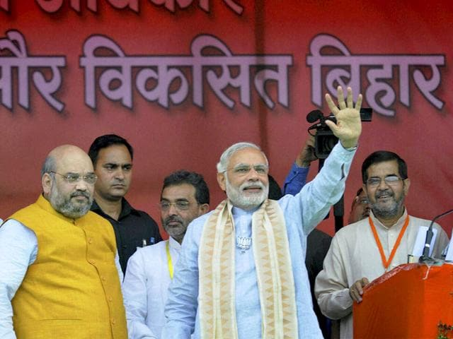 Prime Minister Narendra Modi with BJP president Amit Shah at Parivartan rally in Gaya, Bihar. (PTI Photo)