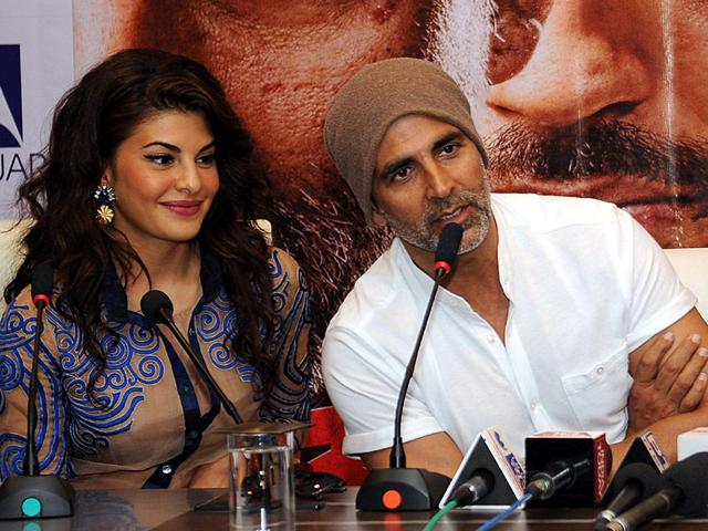 Bollywood actors Akshay Kumar and Jacqueline during the promotion of their upcoming movie 'Brothers' at Lovely Professional University. Pradeep Pandit/HT