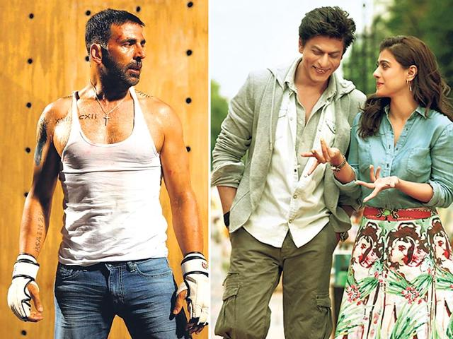 Akshay Kumar in Brothers (L), Shah Rukh Khan and Kajol in Dilwale.