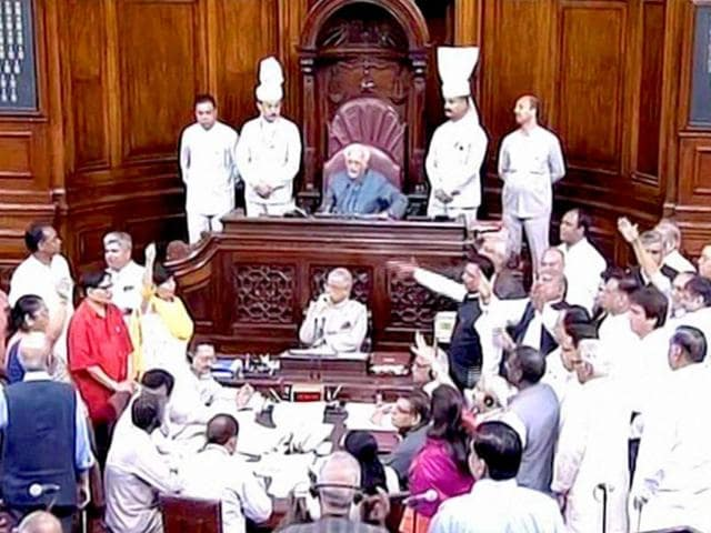 Govt introduces GST bill in Rajya Sabha as Cong protests continue