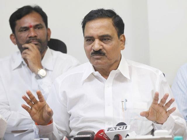Maharashtra cabinet minister Diwakar Raote interacts with media at Mantralaya, in Mumbai. (Arijit Sen/HT photo)