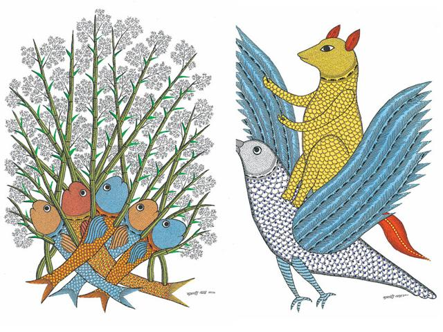 Sukhnandi Vyam's work is deeply rooted in Pardhan Gond folklore and traditions.