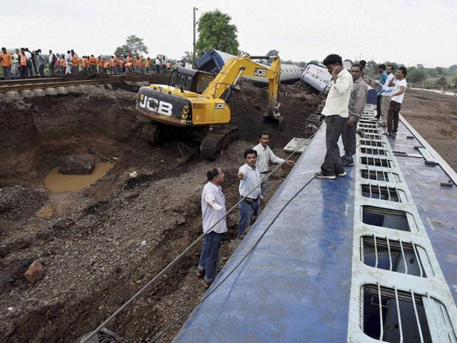Rescue work in progress at Harda where twin train accidents took place. (file photo/PTI)