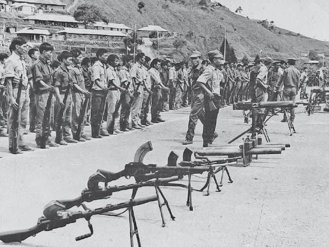 Naga insurgents surrender to the then Nagaland governor BK Nehru, 1973. The Nagas, one of the most robust, reflective and remarkable communities in south Asia, have challenged every Indian government since Independence through a war of weapons, ideas and words. (Picture credits: PIB)