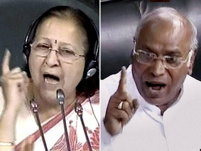 A combination photograph of Lok Sabha Speaker Sumitra Mahajan and the Leader of the Opposition Mallikarjun Kharge during Monsoon Session of Parliament in New Delhi. (PTI Photo)