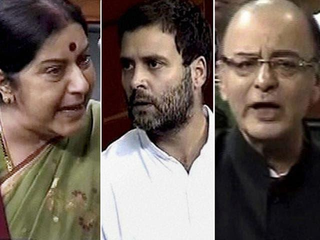 Combination photo of Sushma Swaraj, Rahul Gandhi and Arun Jaitley in Lok Sabha, New Delhi. (PTI Photos)