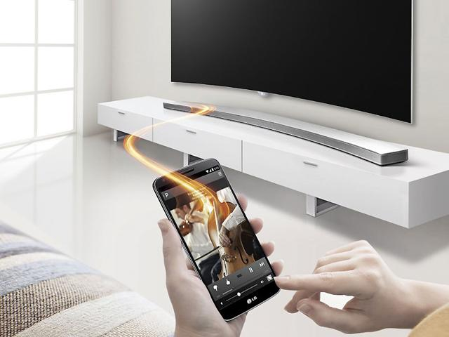 The LG Music Flow HS8 Wireless Curved Sound Bar. Photo: AFP