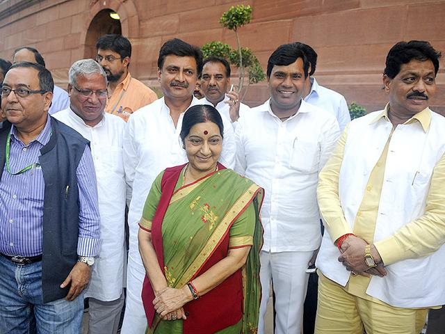 Minister of external affairs Sushma Swaraj after attending Parliament's monsoon session in New Delhi on Wednesday. (HT Photo/Sonu Mehta)