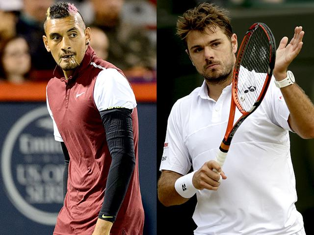 A composite photograph of Australia's Nick Kyrgios, left, and Switzerland's Stan Wawrinka.