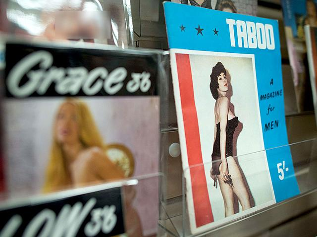 Vintage pornographic magazines on show at Ram Books in north London. (AFP Photo)