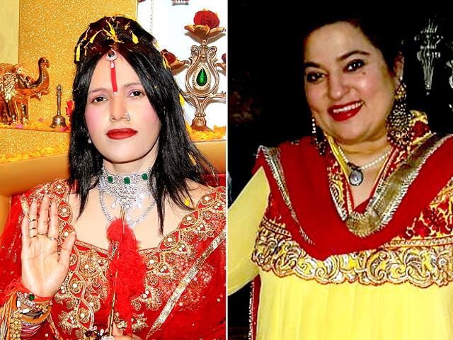 Controversy-beseiged Radhe Maa is again in storm's eye. Her former devotee Dolly Bindra (r) has complained to police that she is being threatened by the self-styled spiritual guru.