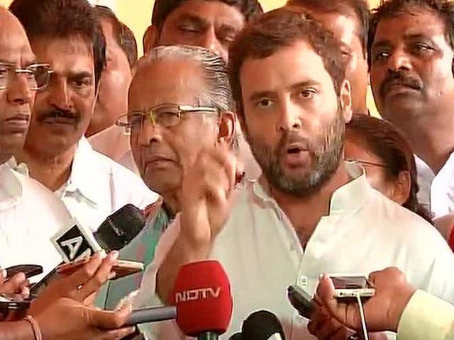 Congress vice president Rahul Gandhi has accused BJP of attacking his father, Rajiv Gandhi, for the last 30 years despite the judiciary clearing the latter's name in the Bofors controversy of 1980s. (Photo credit: ANI on Twitter, @ani_news)