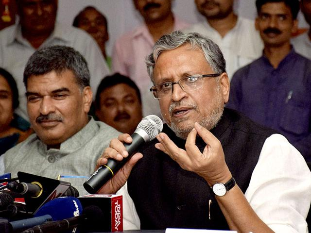 BJP leader Sushil Kumar Modi speaking during a press meet in Patna. (HT Photo/AP Dube)
