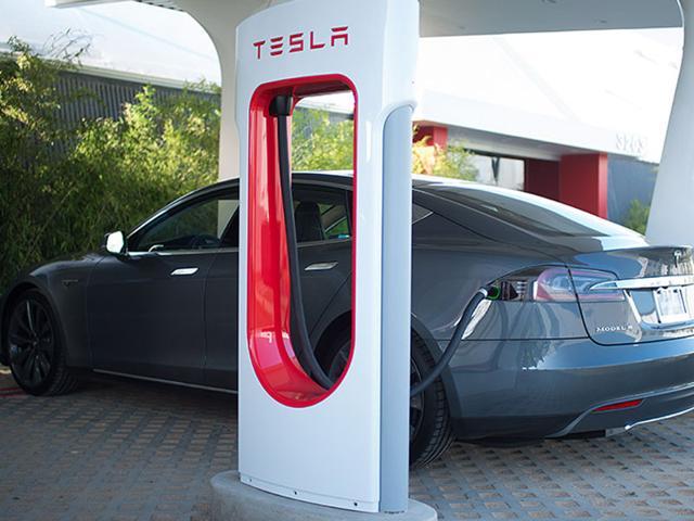 A Tesla Supercharging station