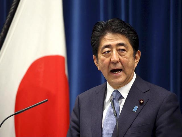 Japanese Prime Minister Shinzo Abe speaking on the 70th anniversary of the end of World War II at his official residence in Tokyo. Abe expressed