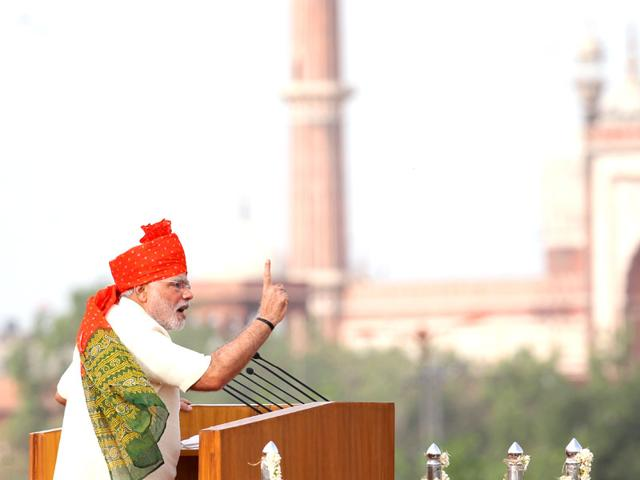 Prime Minister Narendra Modi at the 69th Independence Day celebrations at Red Fort, New Delhi (Photo courtesy: YouTube)