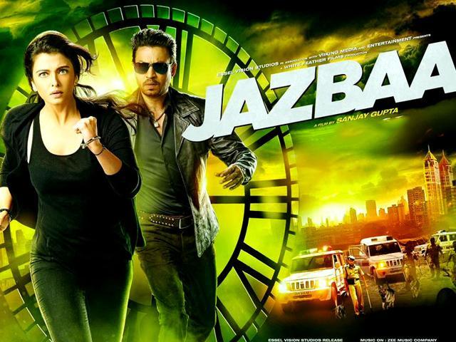 Aishwarya Rai Bachchan and Irrfan Khan in the poster for Jazbaa.