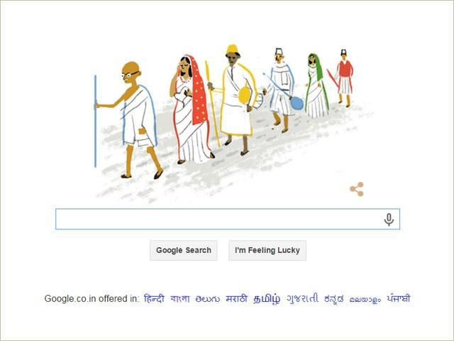 This Google Doodle depicts the Salt Satyagraha, or Dandi March, led by Mahatma Gandhi. The march, which began on March 12, 1930, is one of the milestones during India's struggle for freedom (Photo courtesy: Google)