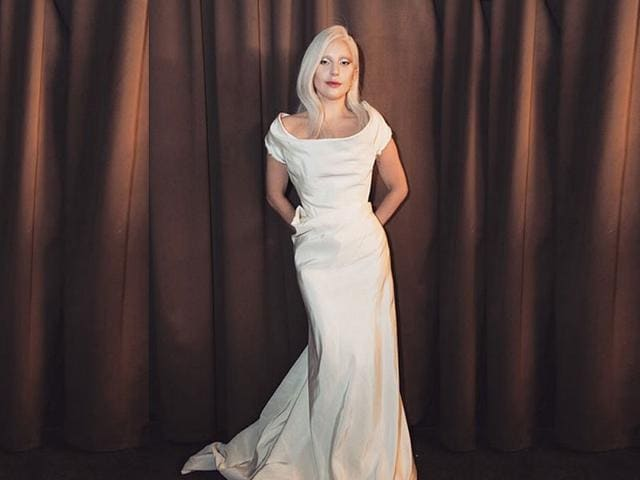 Lady Gaga posted this picture of herself in a white gown designed by Vivienne Westwood. (ladygaga/instagram)