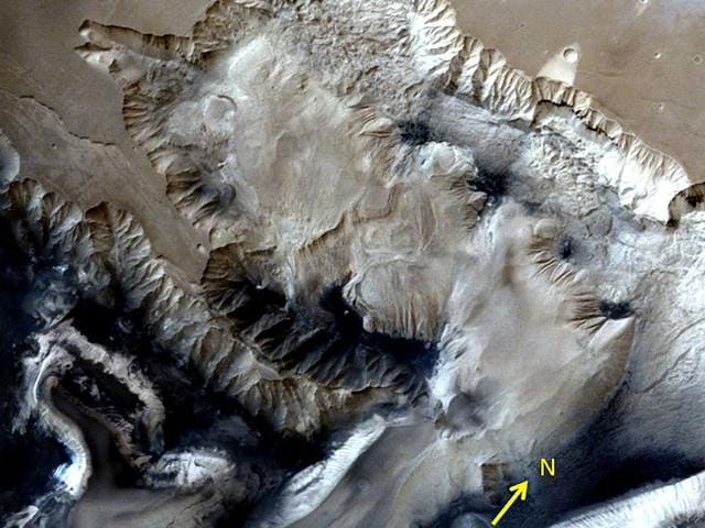 The 3-D images captured with the Mars Colour Camera from a height of nearly 2,000 km are of Valles Marineris, which is the largest-known canyon complex in the solar system. (Photo courtesy: http://www.isro.gov.in/)