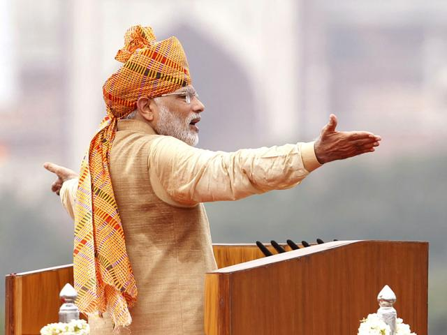 Prime Minister Narendra Modi addressed the nation from the ramparts of the Red Fort on the occasion of 69th Independence Day celebrations in New Delhi. (Ajay Aggarwal/ HT Photo)
