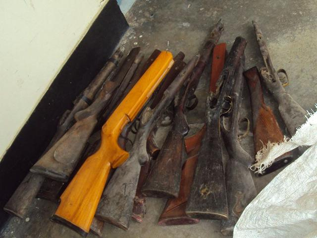 The subsequent search operation led to the recovery of 3,000 live cartridges, four guns, four detonators and 232 kg pellets from the house of the trader whose licence expired in May. (HT Photo)