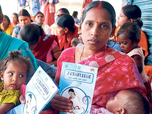 The survey reveals that the national scenario on the good breastfeeding practices is also bleak. (HT file photo/Diwakar Prasad)