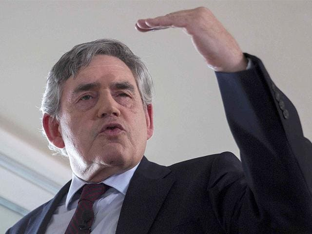 Britain's former Prime Minister Gordon Brown delivers a speech on the Labour Party's leadership election in London on August 16, 2015.(Reuters Photo/Neil Hall)