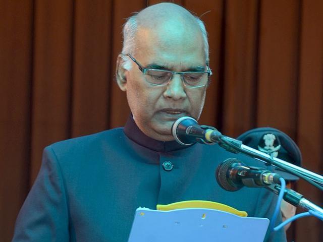 Ram Nath Kovind, 69, taking oath as the 36th governor of Bihar on Sunday.(HT Photo/Santosh Kumar)