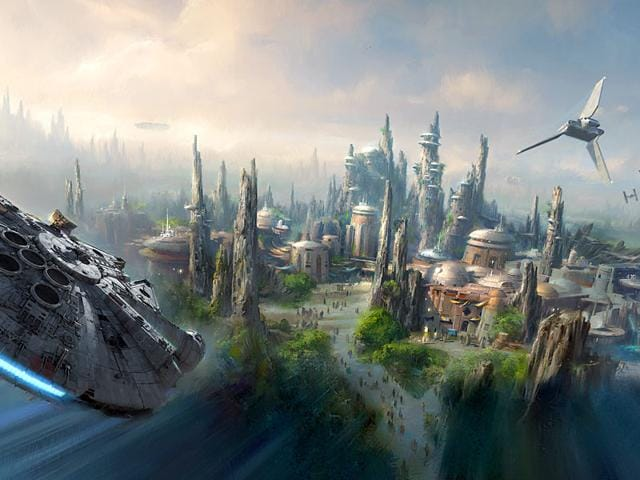 This image provided by Disney parks shows the Star Wars-themed lands will be coming to Disneyland park in Anaheim, California, and Disney's Hollywood Studios in Orlando, Florida, creating Disney's largest single-themed land expansions ever at 14-acres each, transporting guests to a never-before-seen planet, a remote trading port and one of the last stops before wild space where Star Wars characters and their stories come to life. (Disney Parks via AP)