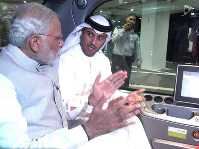 PM Modi in a self-driving car during his visit to Abu Dhabi's zero carbon smart city Masdar. (Photo courtesy: @PMOIndia)