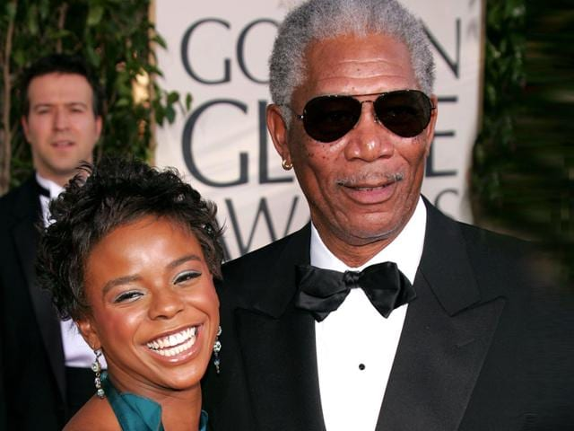 This January 16, 2005 file photo shows actor Morgan Freeman and step-granddaughter E'Dena Hines arriving for the 62nd Annual Golden Globe Awards at the Beverly Hilton Hotel in Beverly Hills, California. Oscar-winning actor Morgan Freeman's step-granddaughter was stabbed to death by her boyfriend in New York on Sunday. (AFP photo)