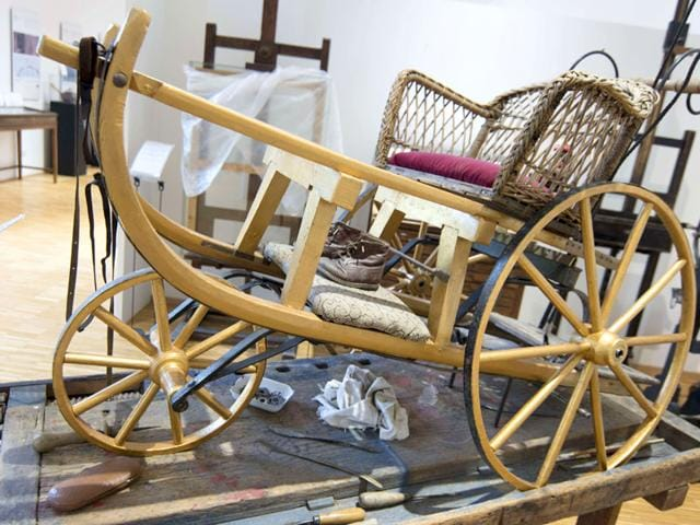 A summer sled is displayed at the 'Nonseum' museum at the Austrian village of Herrnbaumgarten, north of Vienna near the Czech border. (AFP Photo/ Joe Klamar)