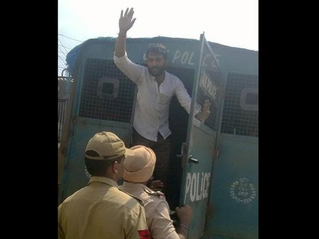 ABVP party-men arrested by the police in Udhampur after protest. (HT Photo)