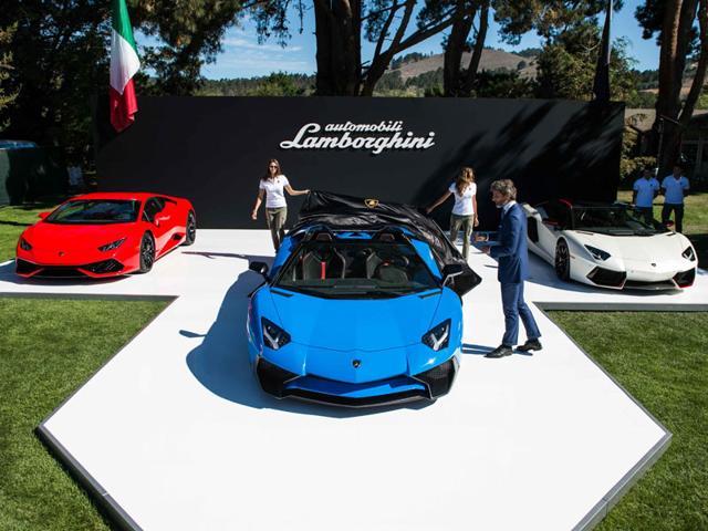Lamborghini revealed its 750 bhp Aventador LP 750-4 Superveloce Roadster in Pebble Beach. Photo:AFP