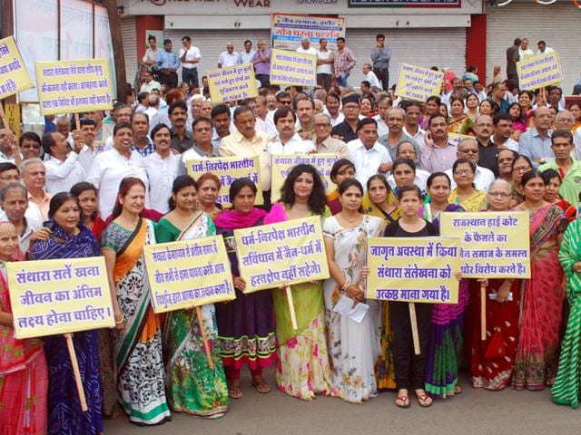 Jain community protests ban on Santhara,Santhara,Rajasthan high court