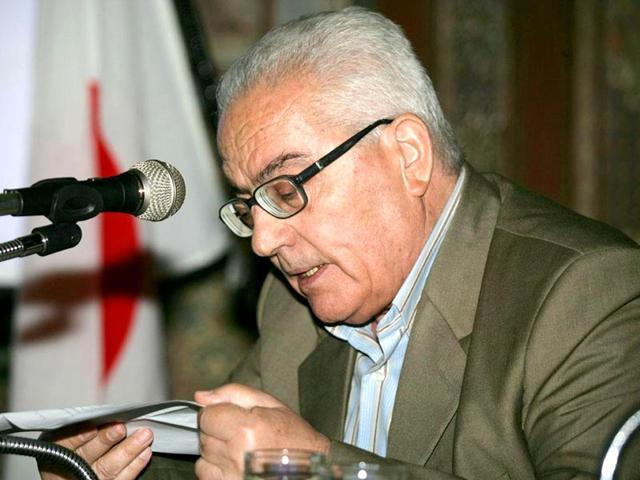 An undated handout picture released by the official Syrian Arab News Agency (SANA) on August 19, 2015 shows the late 82-year old retired chief archaeologist of the ancient Syrian city of Palmyra, Khaled al-Assaad, giving a press conference. (AFP Photo/ HO/ Sana)