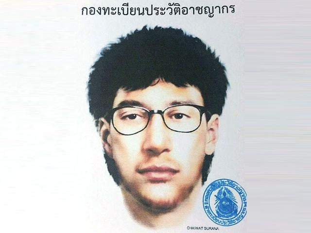 This image released by the Royal Thai Police shows a detailed sketch of the main suspect in a bombing that killed 20 people at the Erawan shrine in downtown Bangkok. (Royal Thai Police via AP)