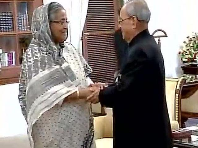 Bangladesh Prime Minister Sheikh Hasina extends her condolences to President Pranab Mukherjee. (Image via Twitter, @ANI_news)