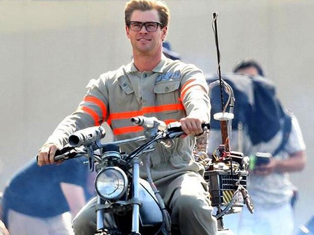 Chris Hemsworth suits up for Ghostbusters.